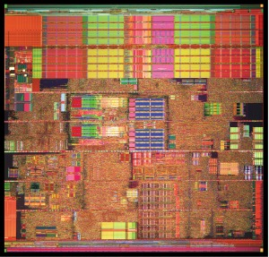 Pentium 4 Prescott die photo by courtesy of Intel